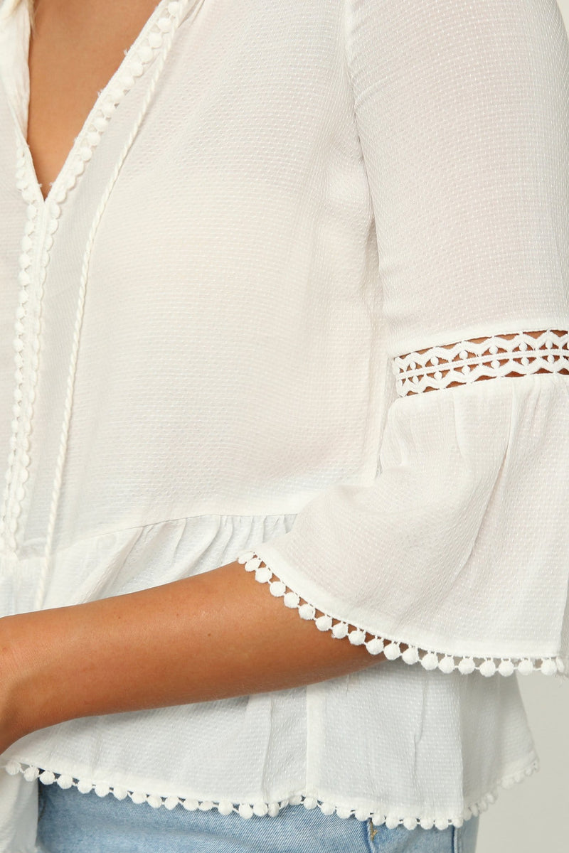 Giddy Up Dobby Lace Blouse Pearl