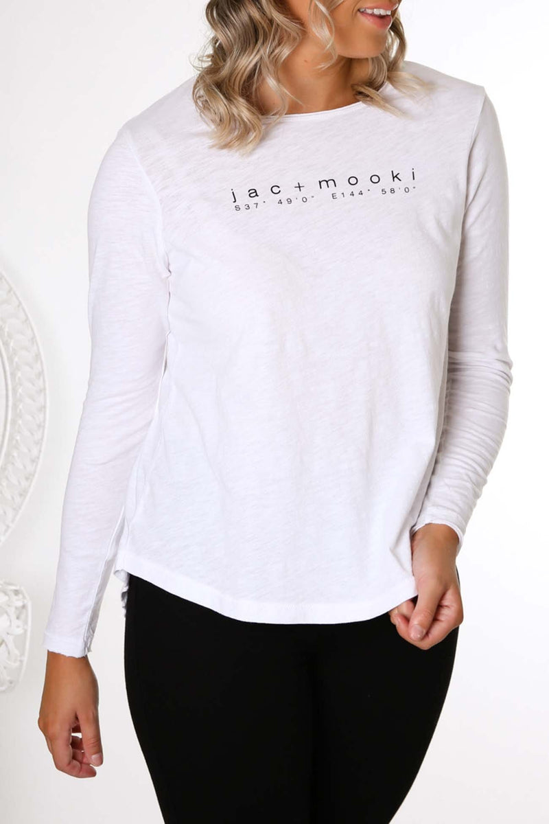 Gigi Long Sleeve Tee White jac + mooki - Jean Jail