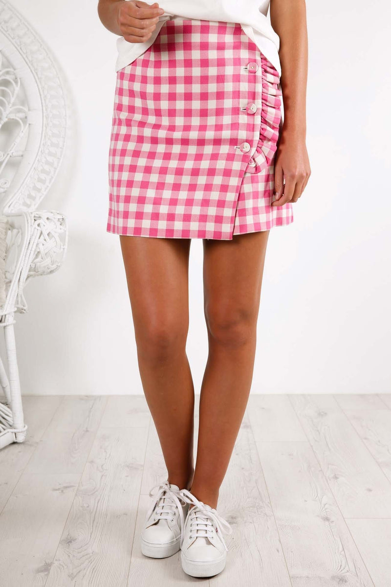 Gigi Skirt Fuchsia Check Finders Keepers - Jean Jail