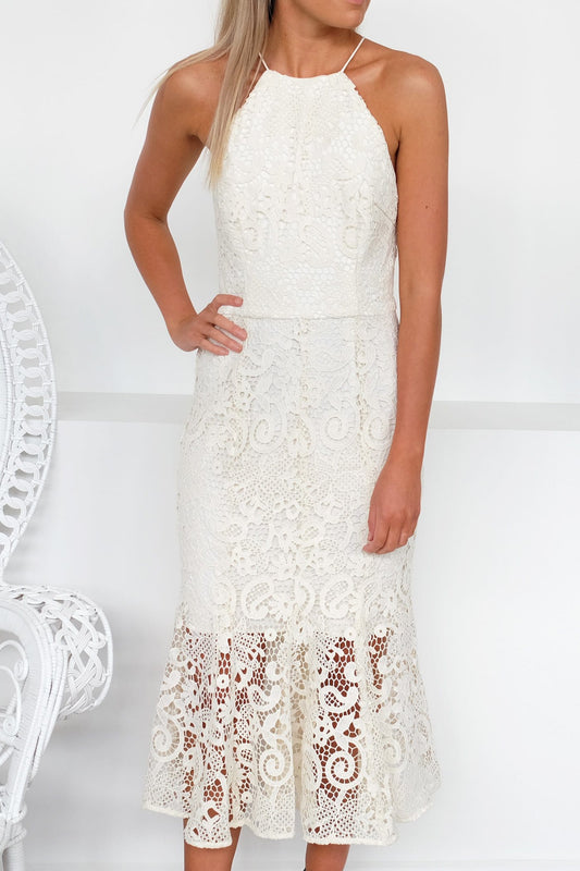 Glimmer High Neck Lace Dress Marshmellow
