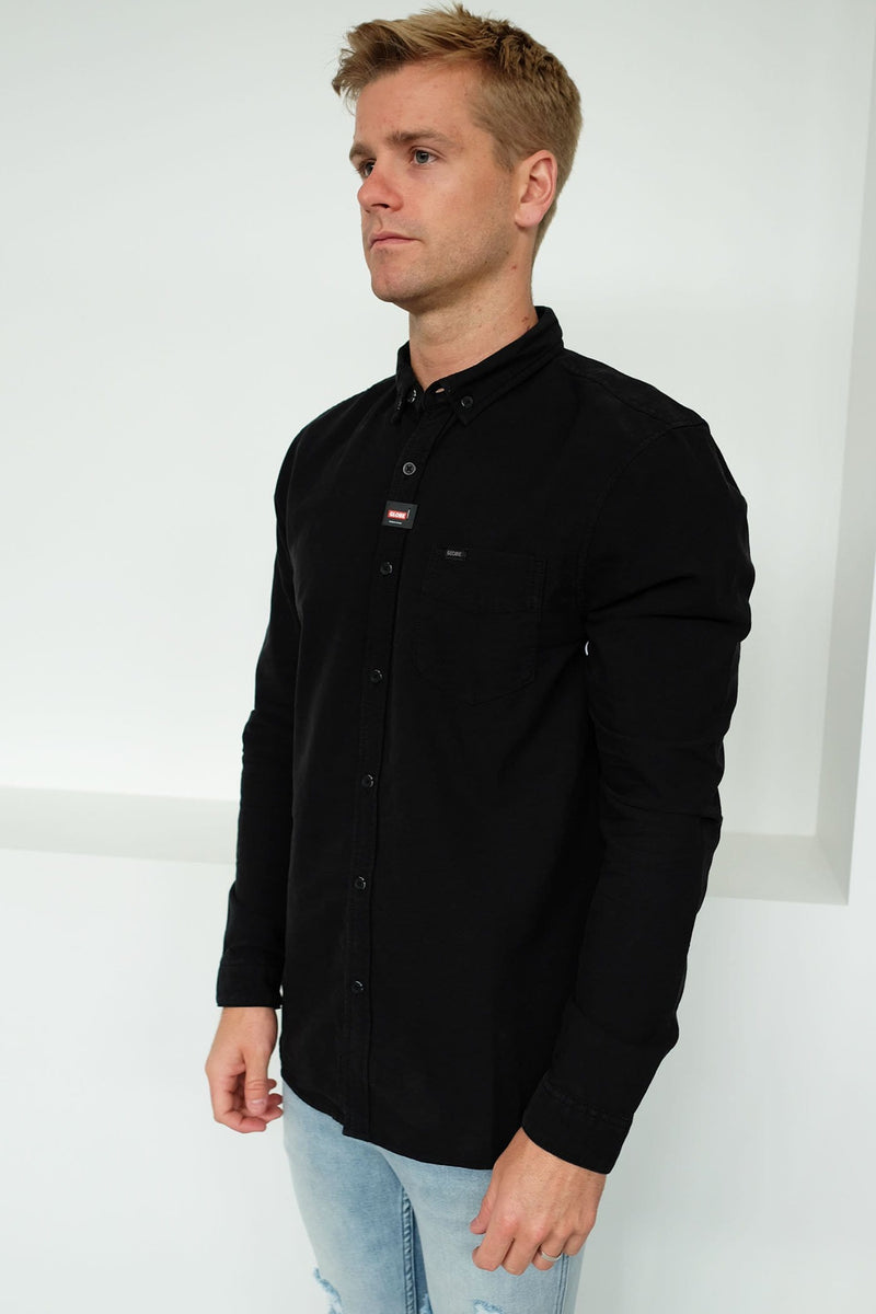 Goodstock Oxford Long Sleeve Shirt Black Globe - Jean Jail