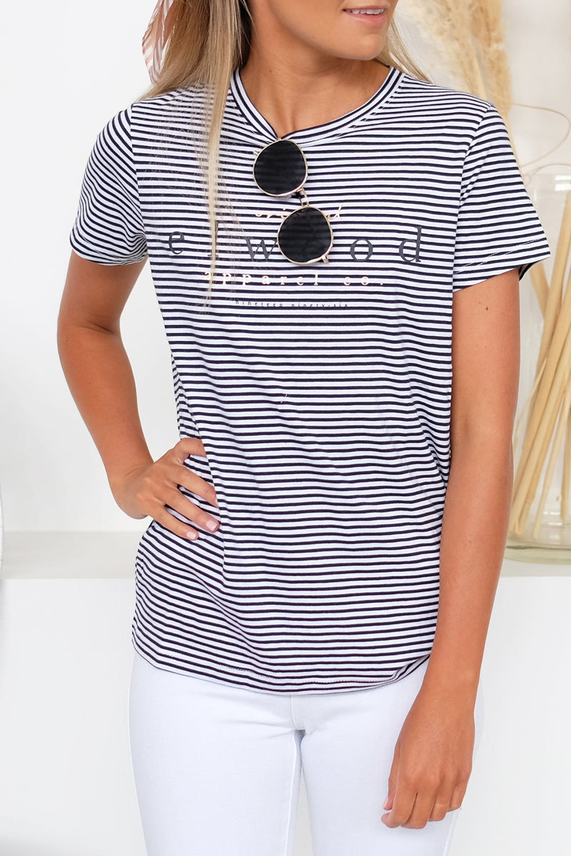 Hannah Tee Navy White Stripe
