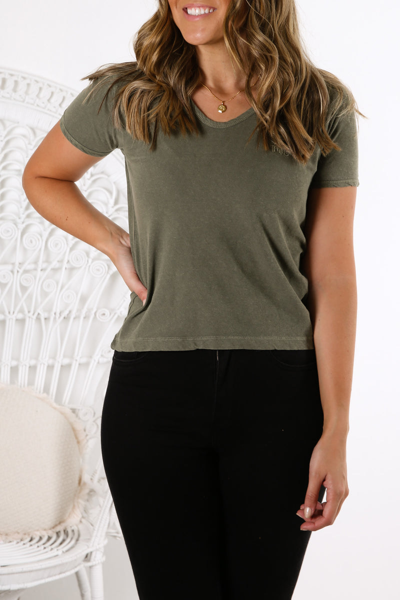 Hot Lip Tee Army Green