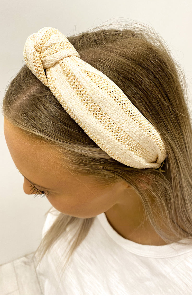 Luna Knotted Headband Cream