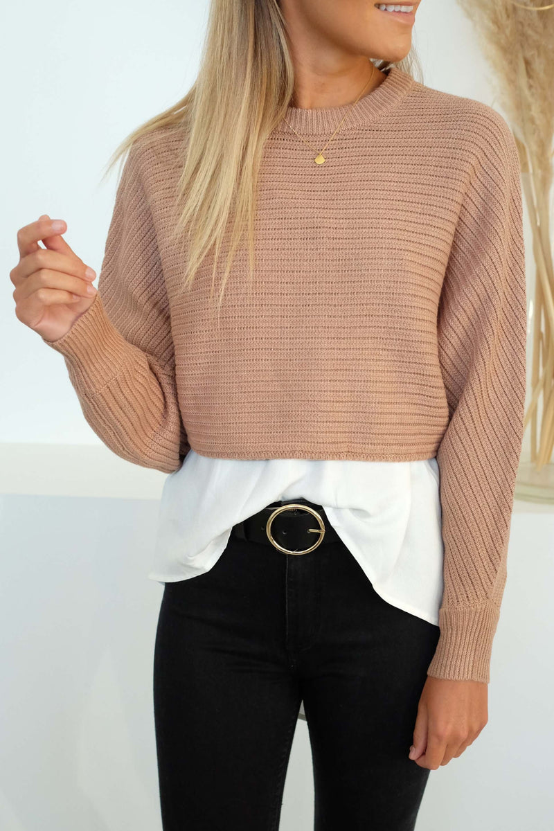 Independence Cropped Knit Cinnamon Sass - Jean Jail