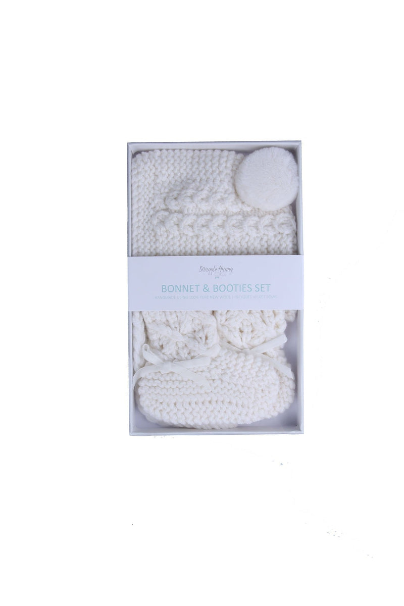 Ivory Merino Wool Bonnet & Booties Set