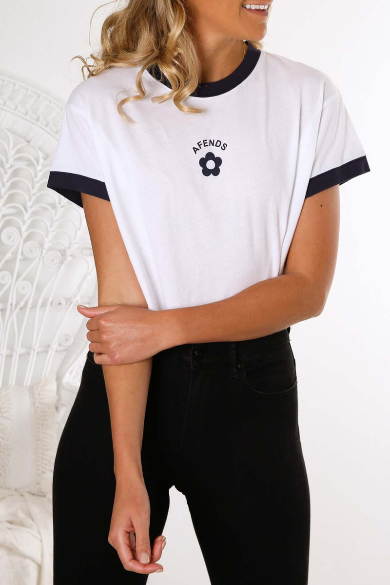 Ivy Relaxed Fit Ringer Tee White Afends - Jean Jail