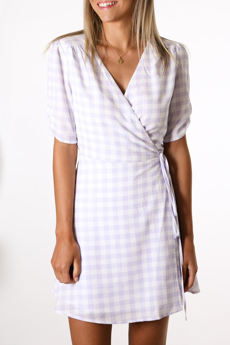 Juniper Wrap Dress Lilac Gingham
