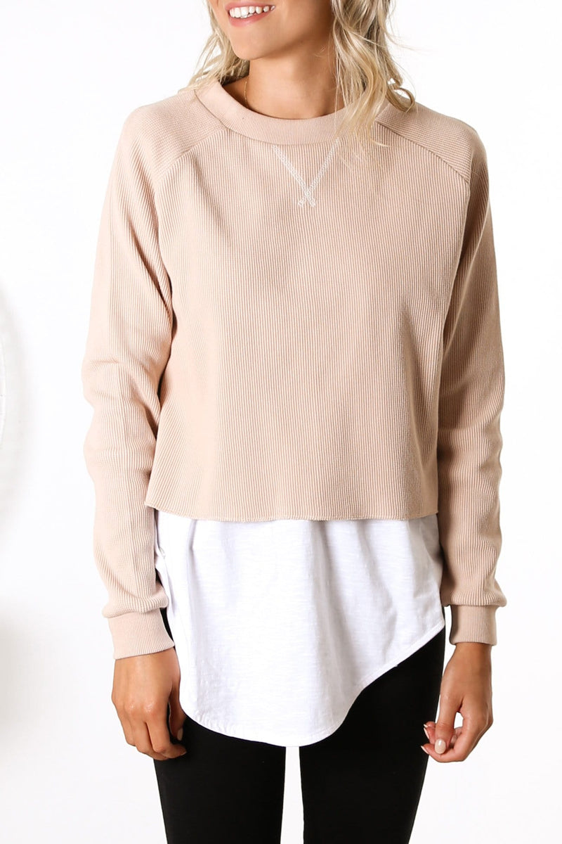 Kai Long Sleeve Waffle Top Cream