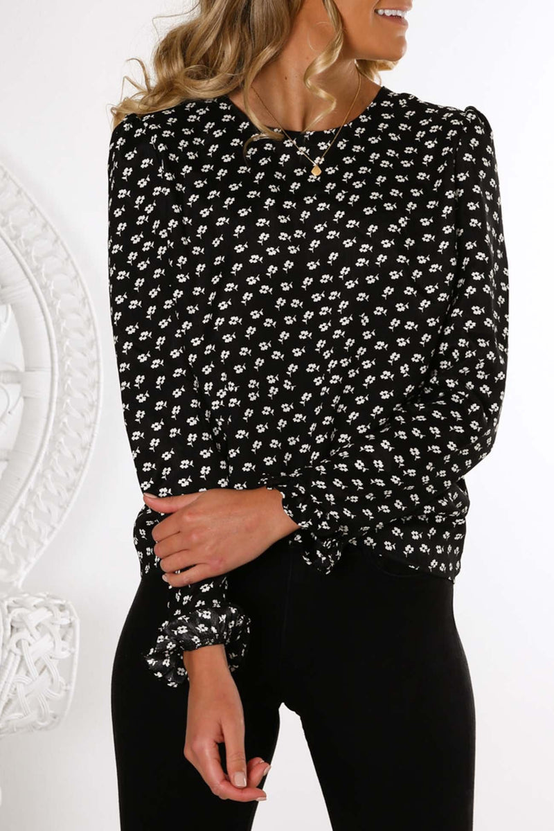 Kaleidoscope Long Sleeve Top Black Ivory Floral The Fifth Label - Jean Jail