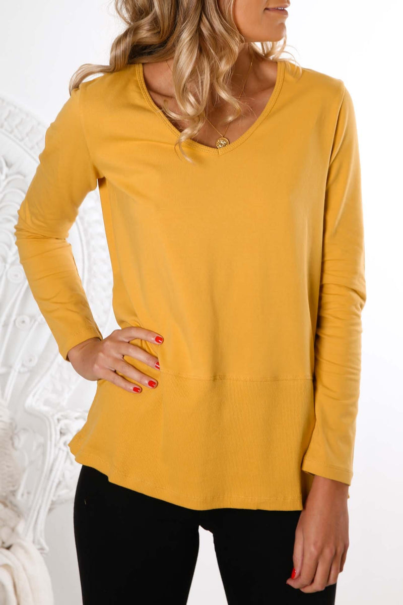 Kimberly Spliced Top Mustard Betty Basics - Jean Jail