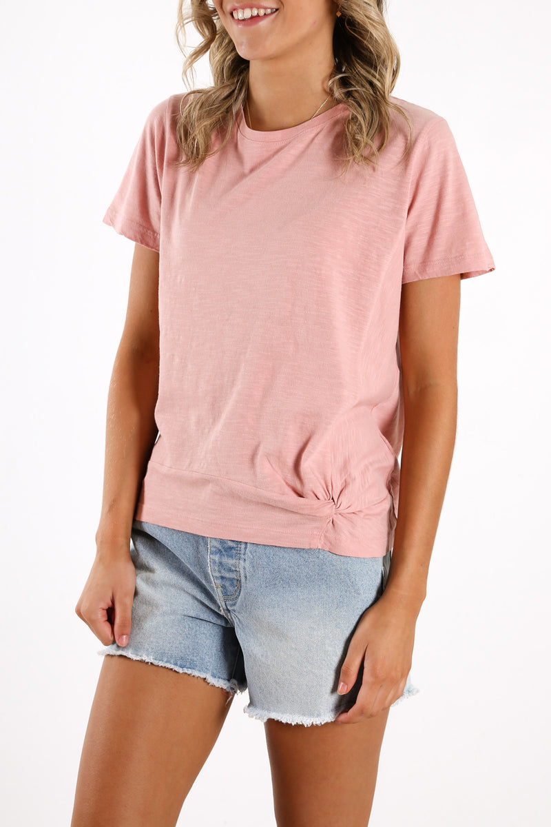 Knot Front Crop Tee Pink