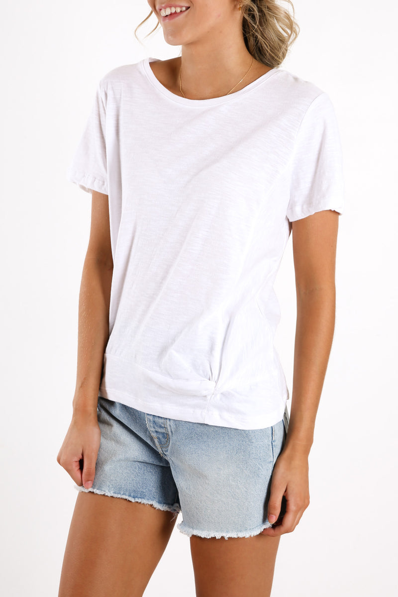 Knot Front Crop Tee White
