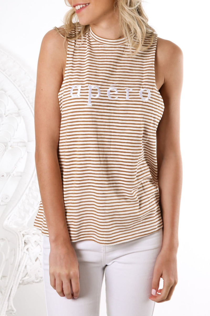 La Petite Stripe Embroidered Tank Mustard Stripe