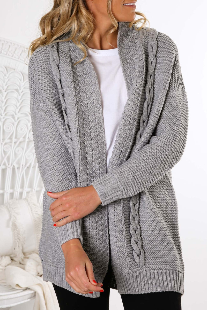 Lady Lux Cable Cardigan Grey Marle Sass - Jean Jail