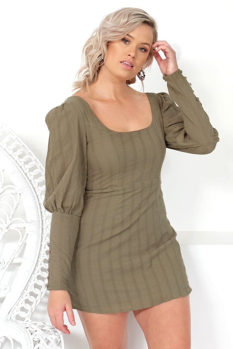 Laylah Dress Khaki Jean Jail - Jean Jail