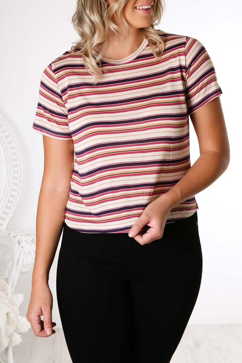 Level Modal Tee Rouge Berry Cream Tan All About Eve - Jean Jail