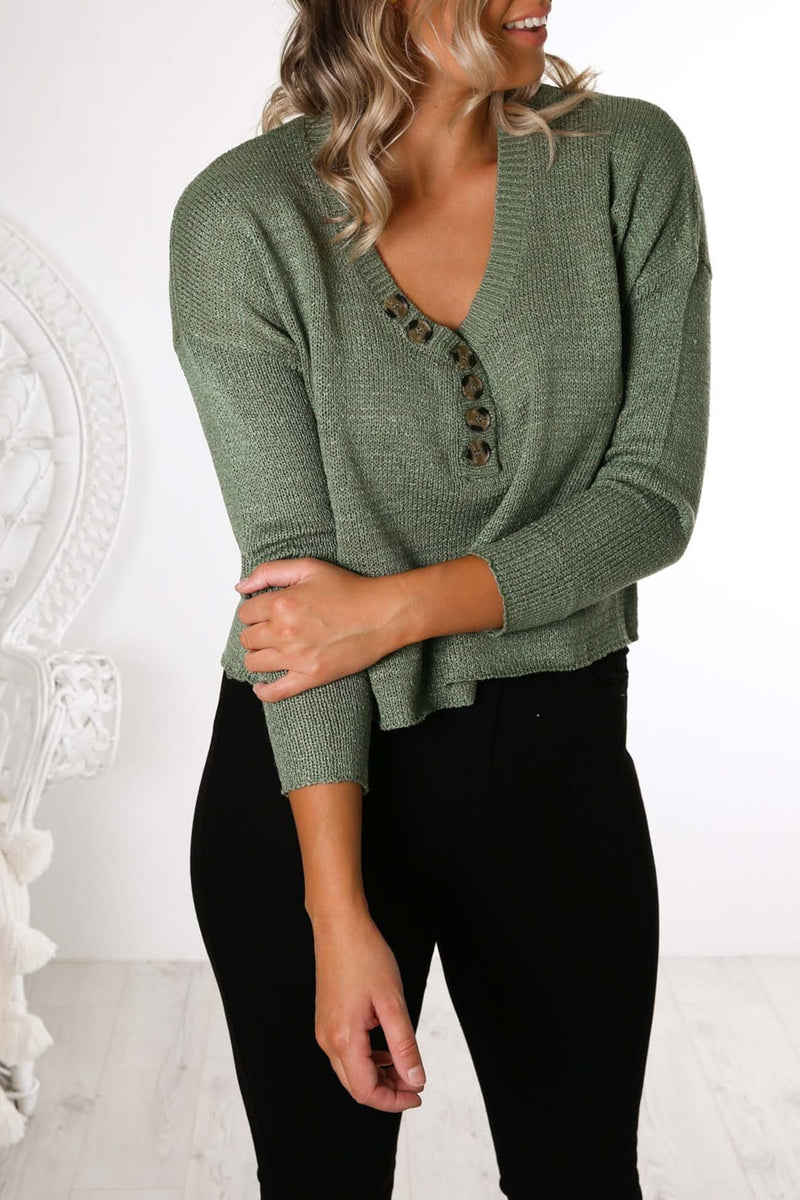 Liana Button Up Knit Light Green All About Eve - Jean Jail