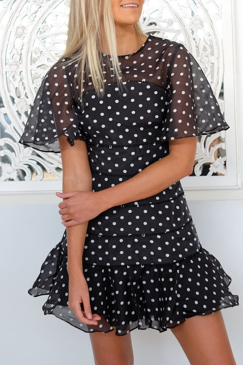 Limits Mini Dress Black Ivory Polka Dot Keepsake - Jean Jail