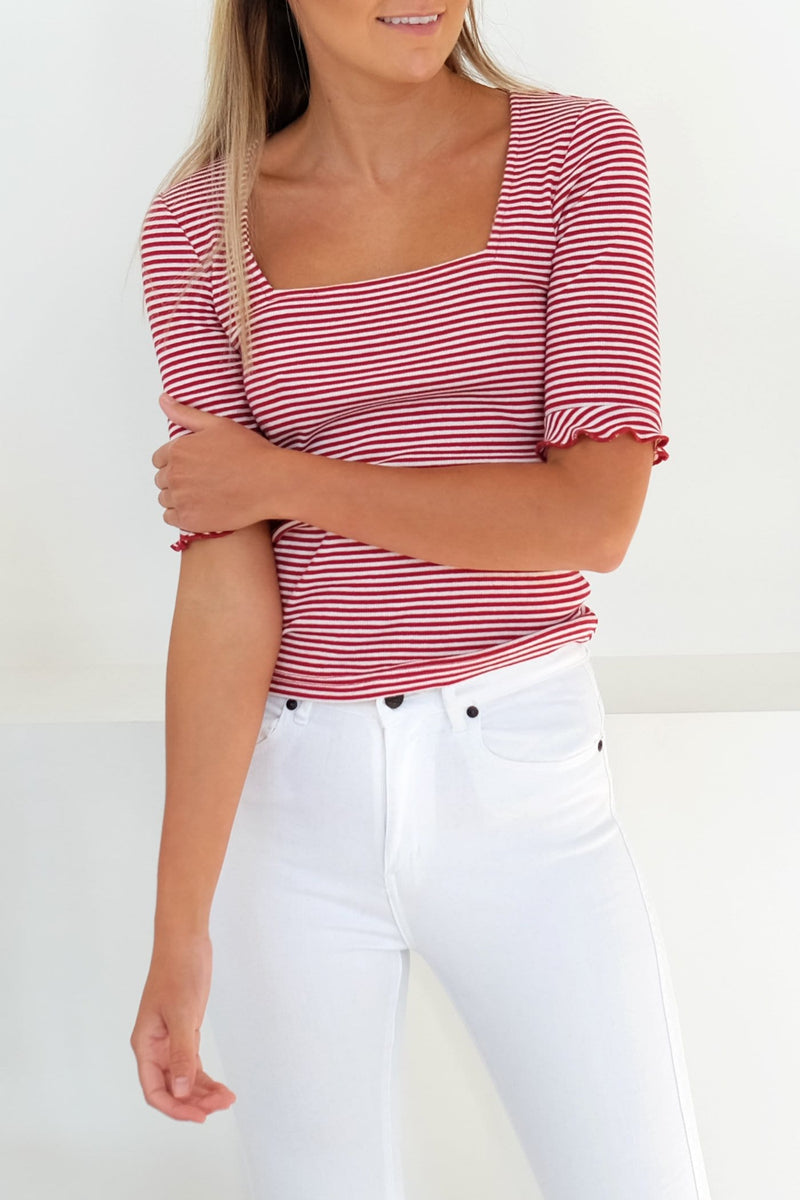 Local Stripe Top Brick White The Fifth Label - Jean Jail
