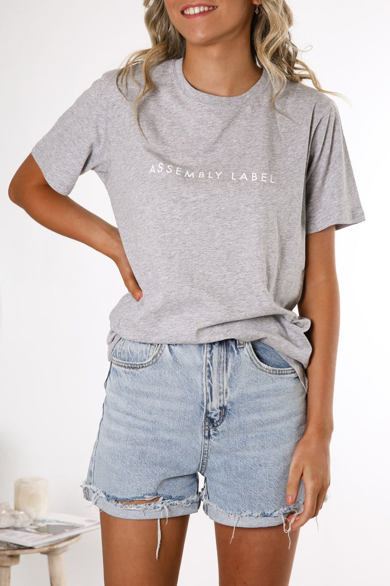 Logo Cotton Crew Tee Grey Marle