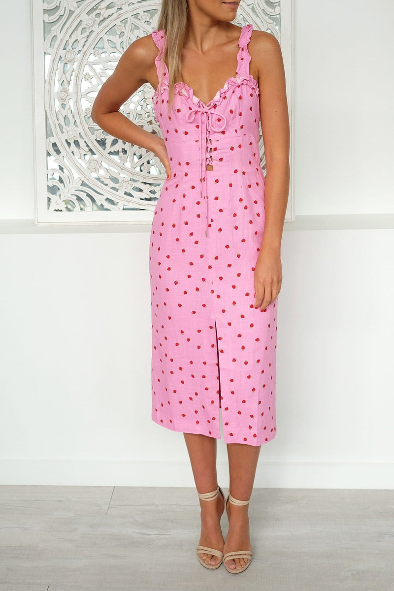 Lola Dress Pink Strawberry Finders Keepers - Jean Jail