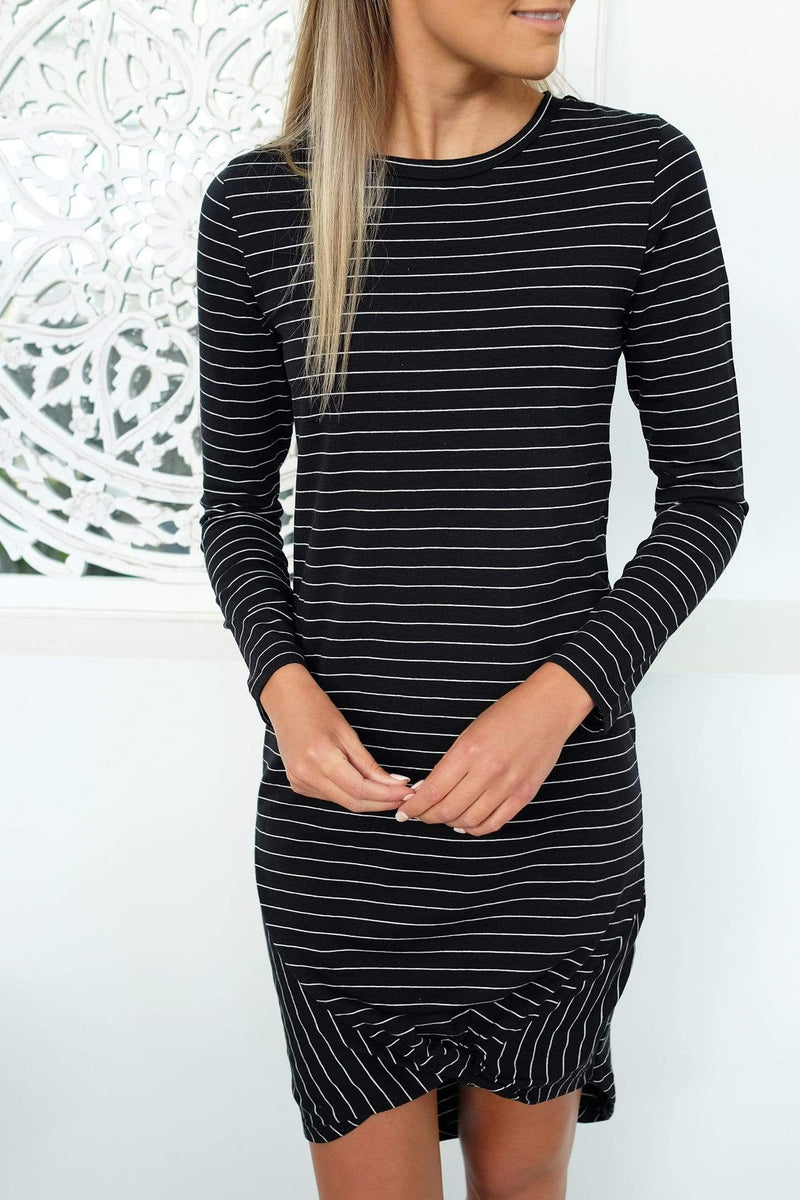 Maternity Isabelle Long Sleeve Tee Dress Black White Stripe
