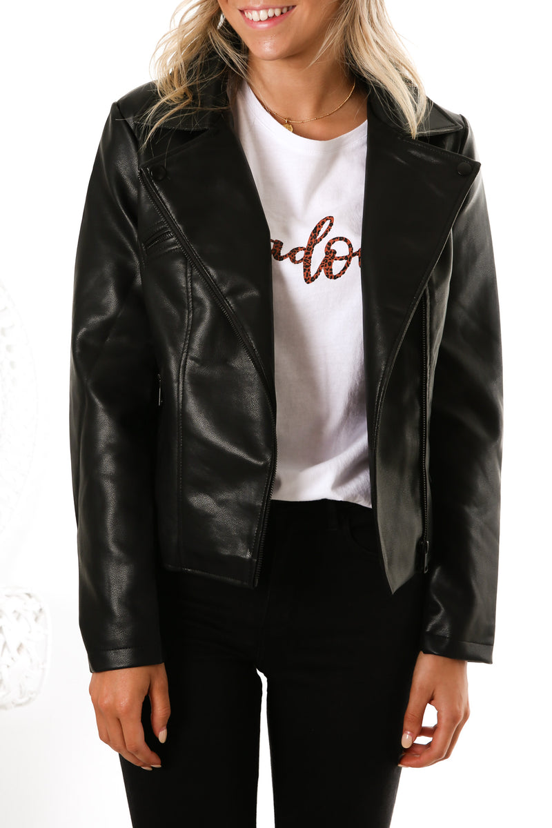 Mabel PU Jacket Black