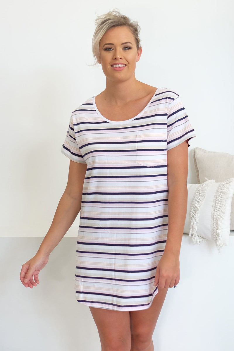 Madelyn Jersey Dress Multi Stripe All About Eve - Jean Jail