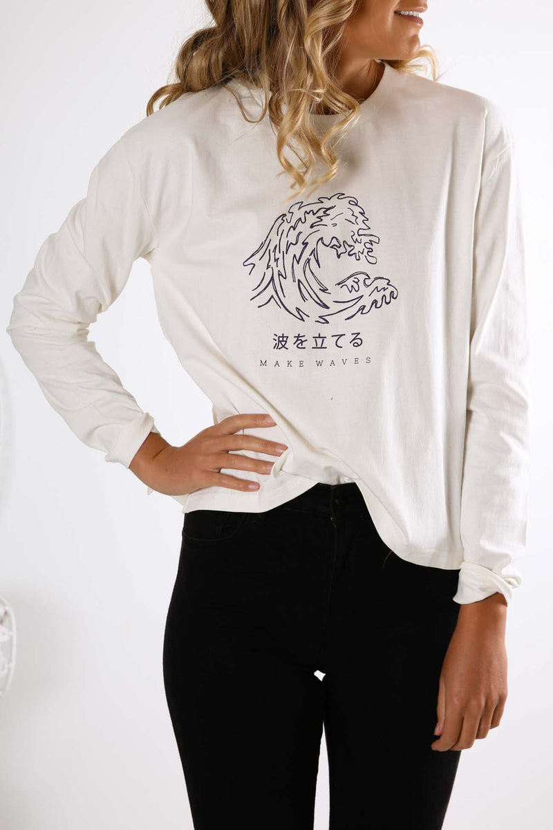 Making Waves Long Sleeve Tee White All About Eve - Jean Jail