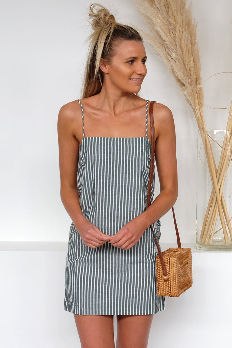 Malloy Slip Dress Green Stripe Nude Lucy - Jean Jail