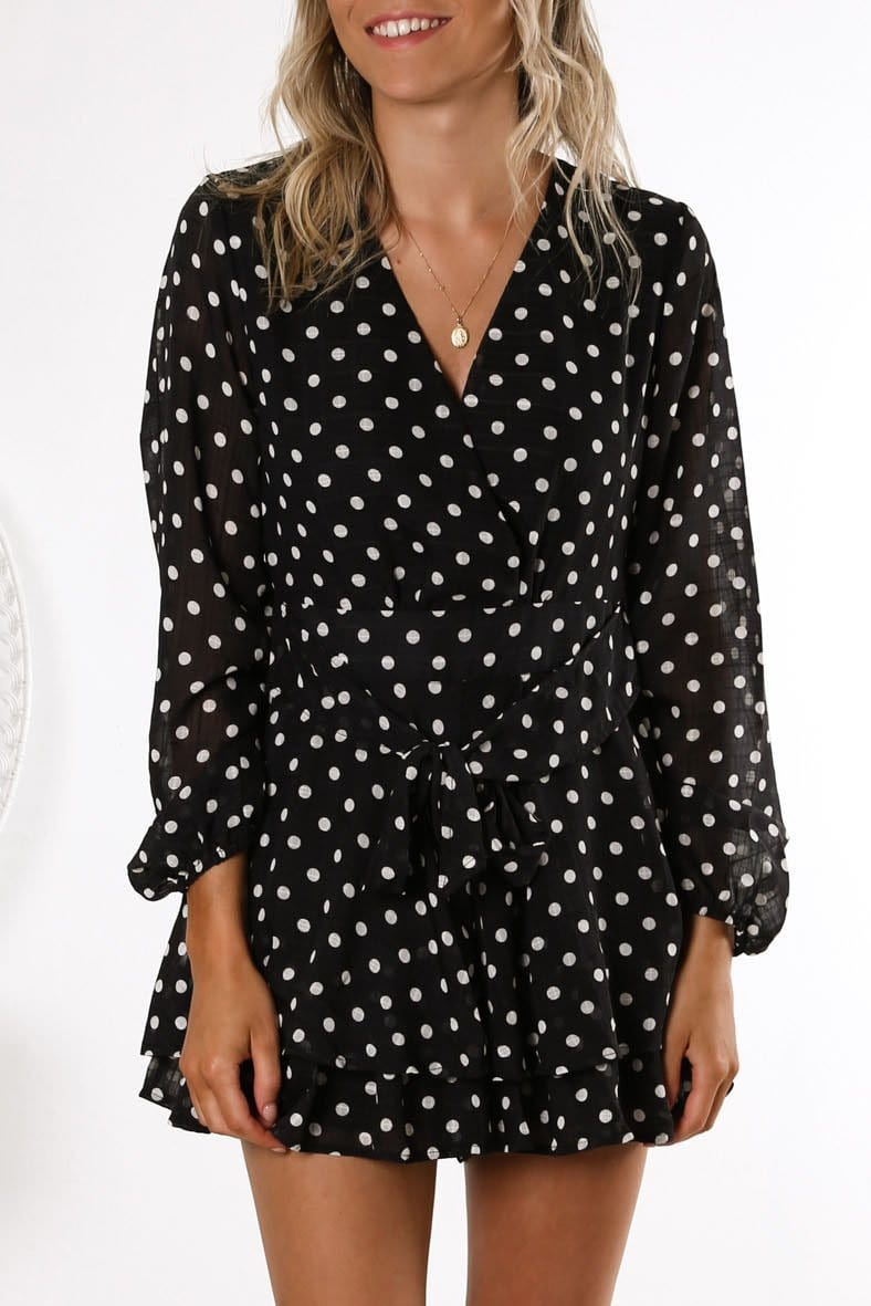 Marne Spot Playsuit Black White Spot