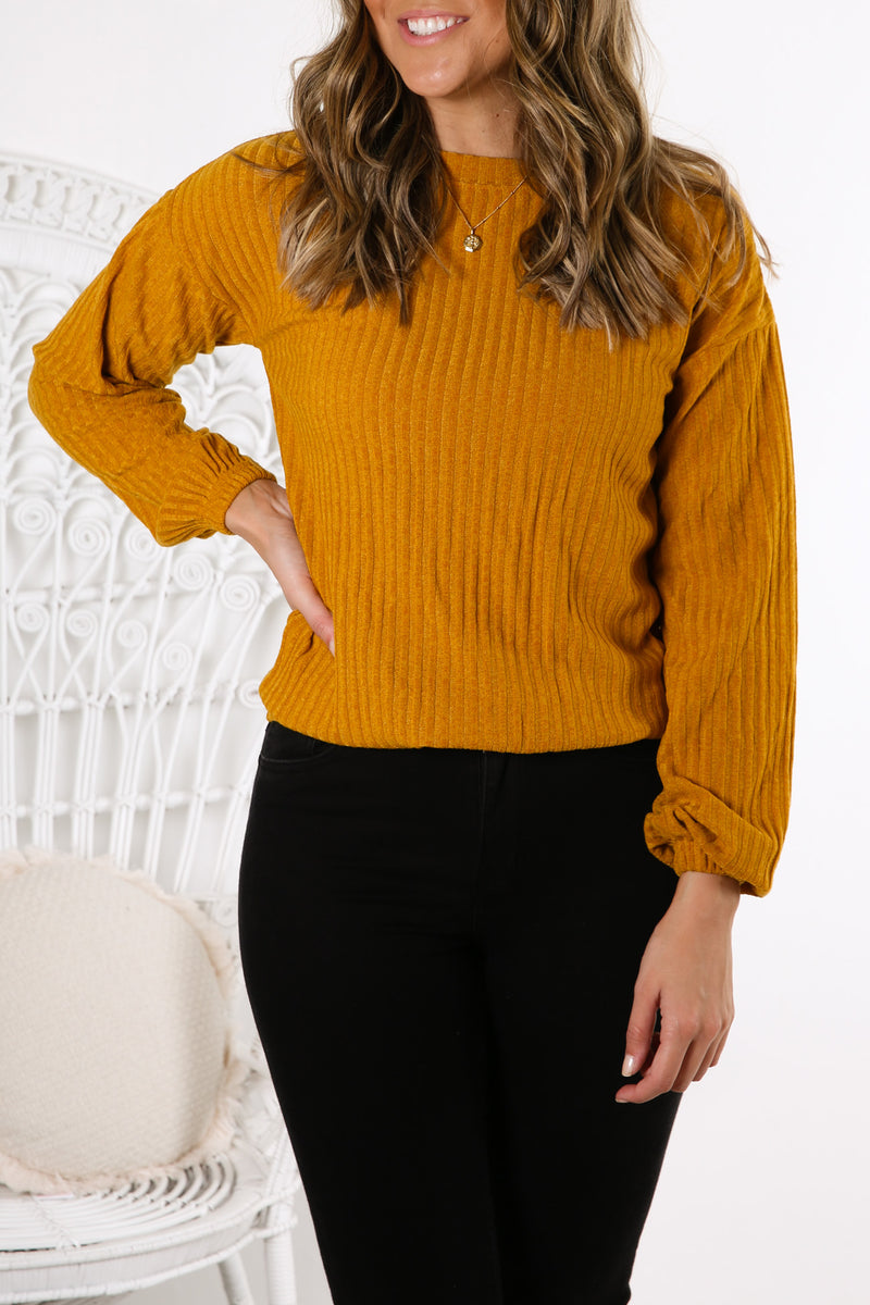 Mason Long Sleeve Crew Inca Gold