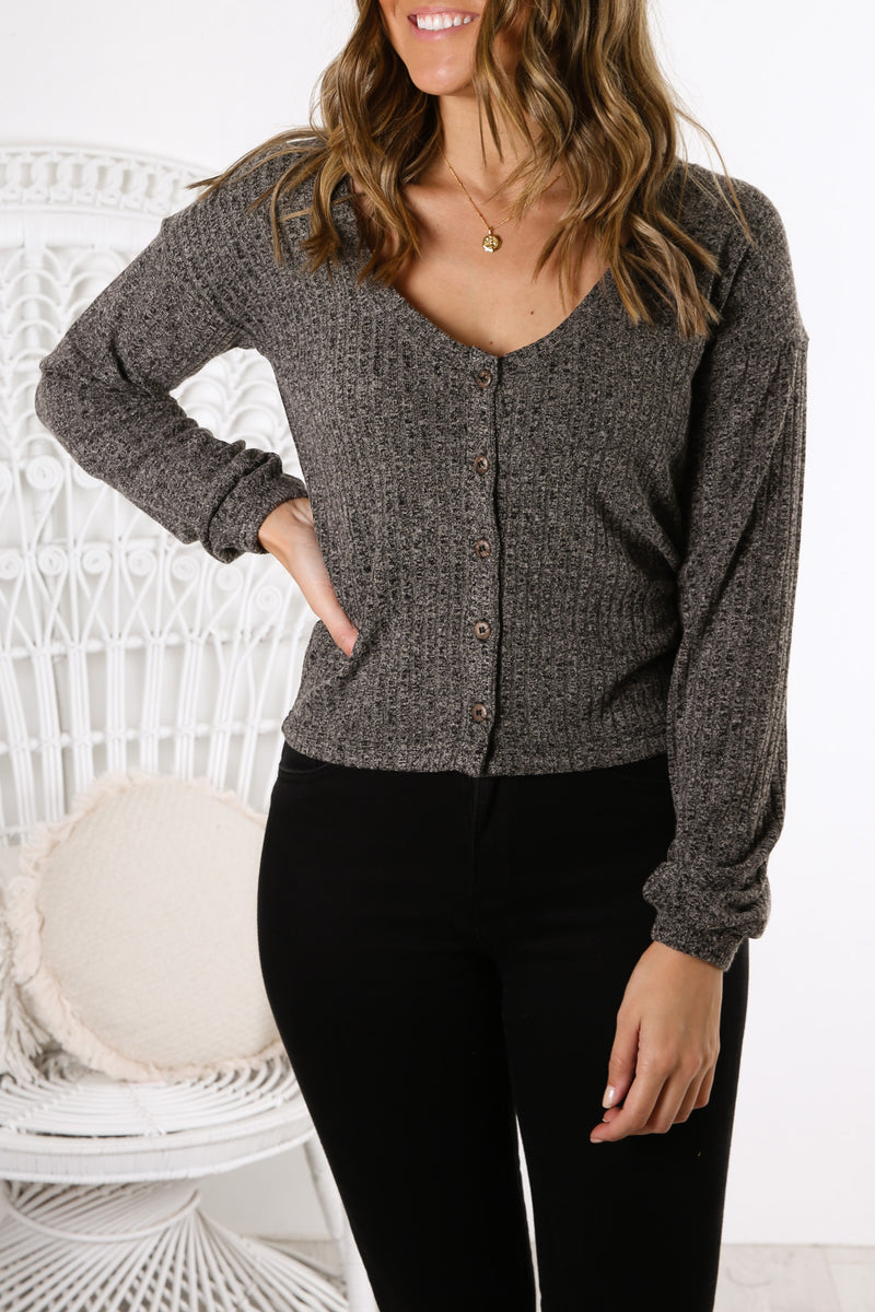 Mason Long Sleeve Crop Cardigan Dark Grey Marle