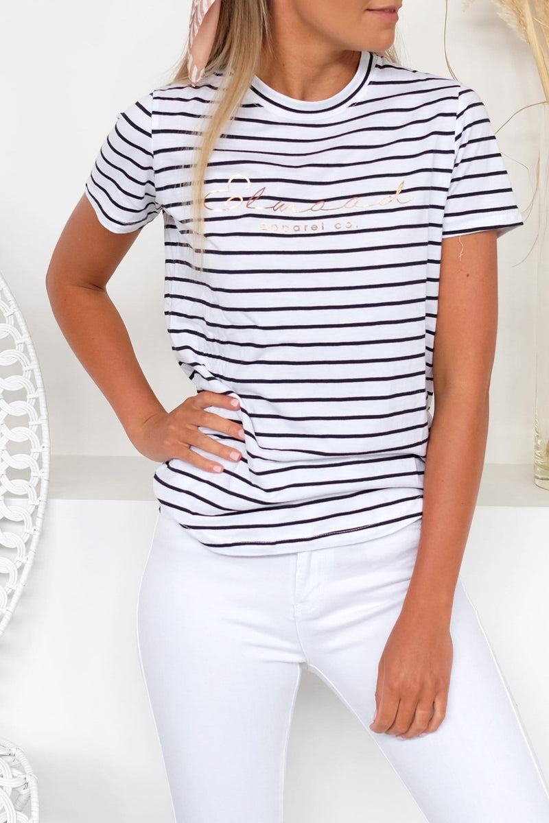 Maxy Tee Navy White Stripe