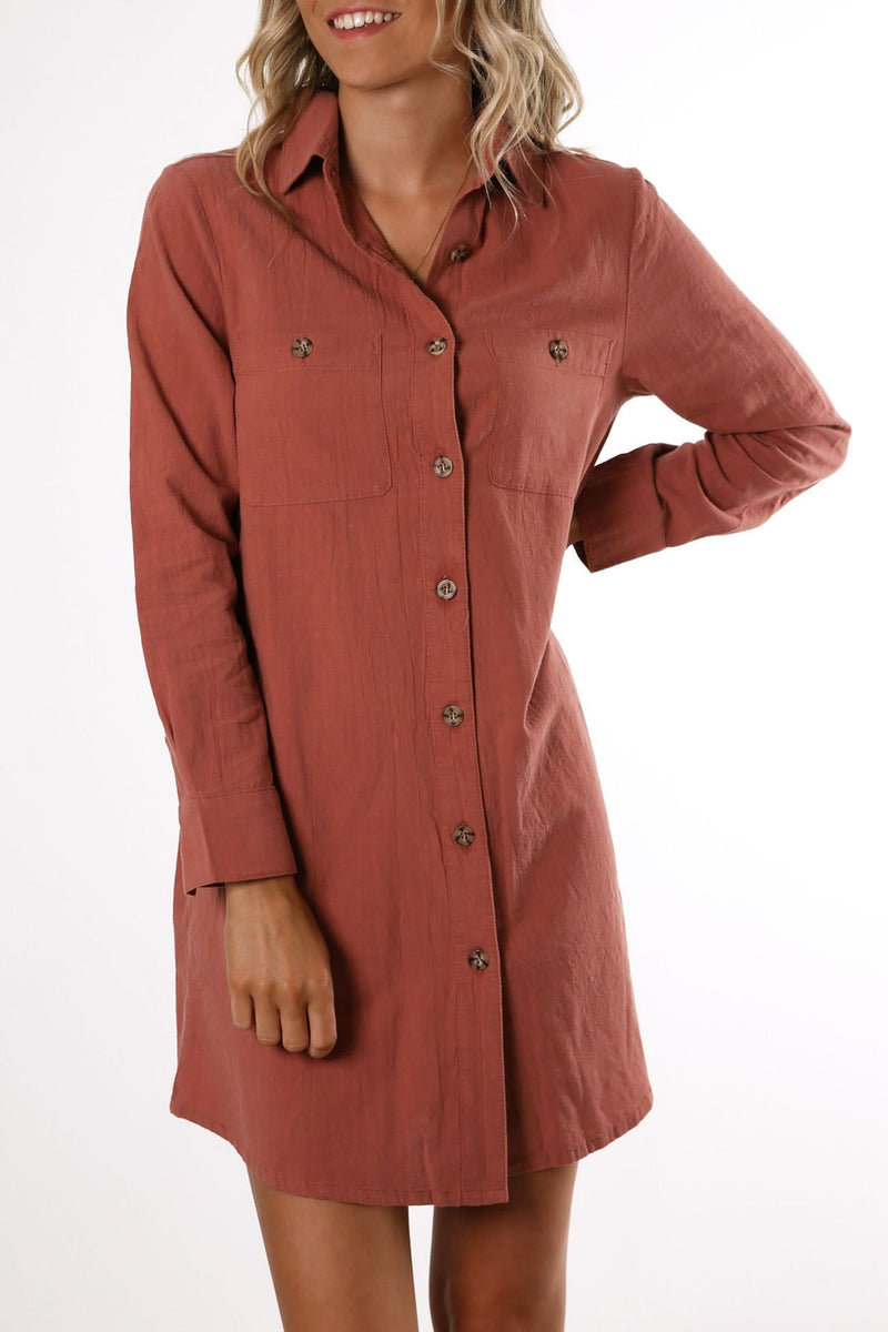 Maya Long Sleeve Dress Rosewood