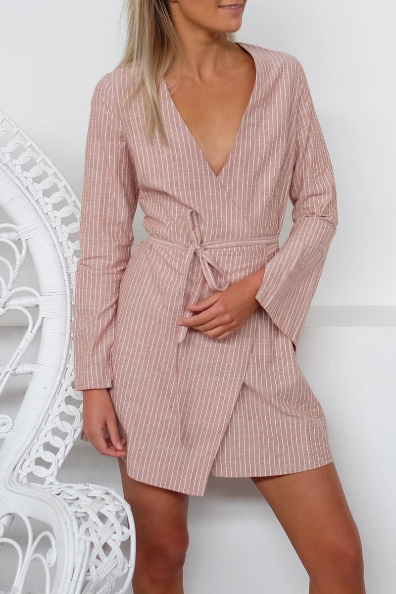 Medina Wrap Dress Stripe Nude Lucy - Jean Jail