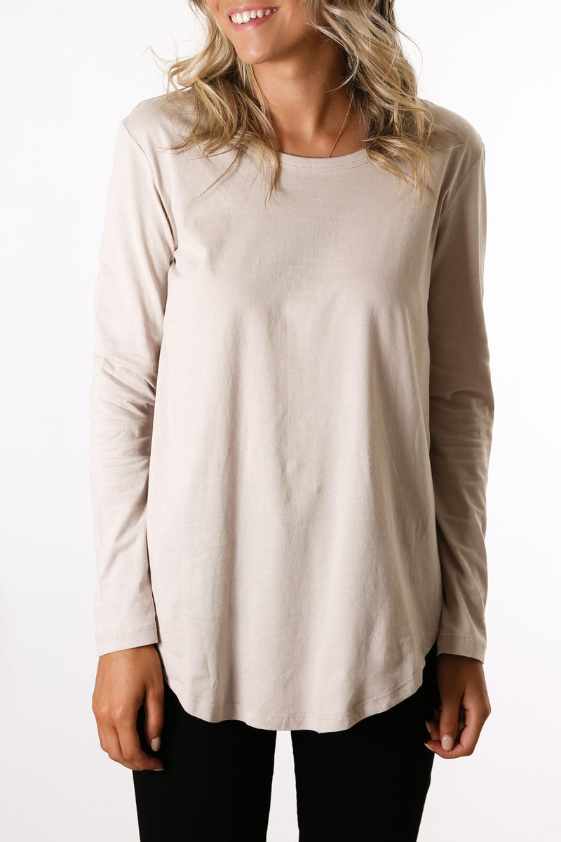 Megan Long Sleeve Top Cashew