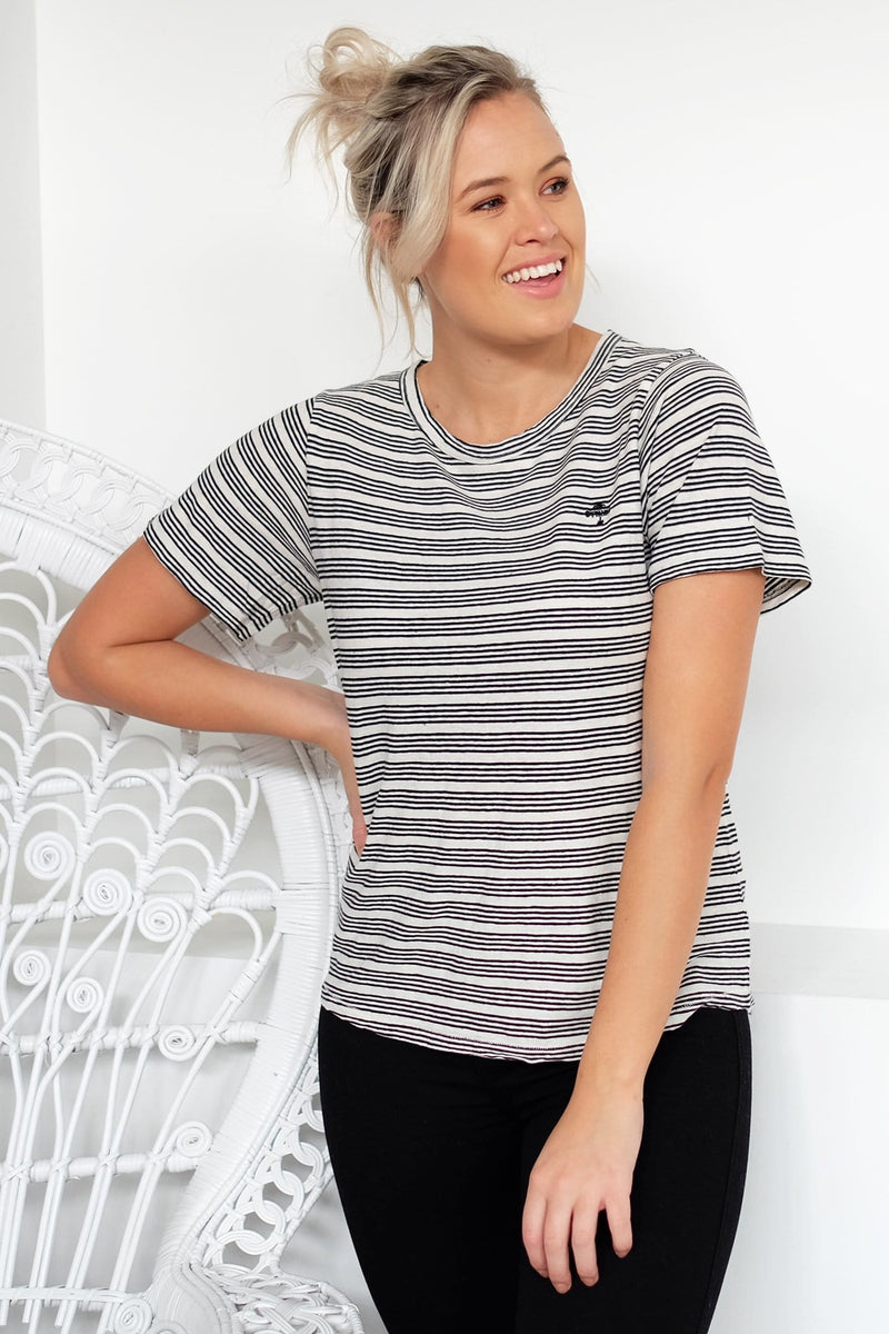 Midnight Stripe Tee Natural Black Stripe Thrills - Jean Jail