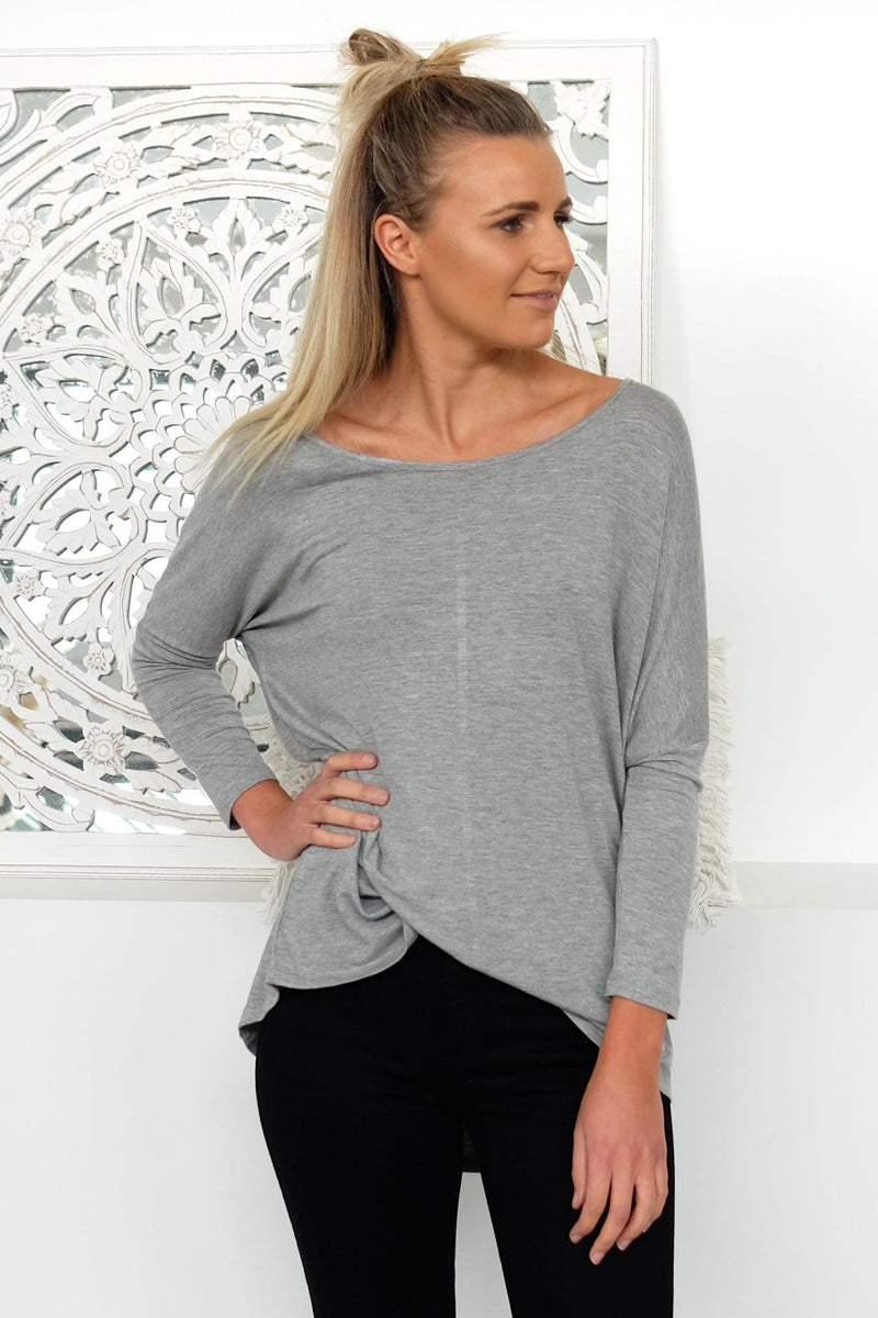Milan 3/4 Sleeve Top Silver Marle Betty Basics - Jean Jail