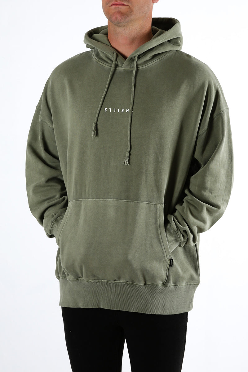 Minimal Thrills Slouch Pull On Hood Army Green