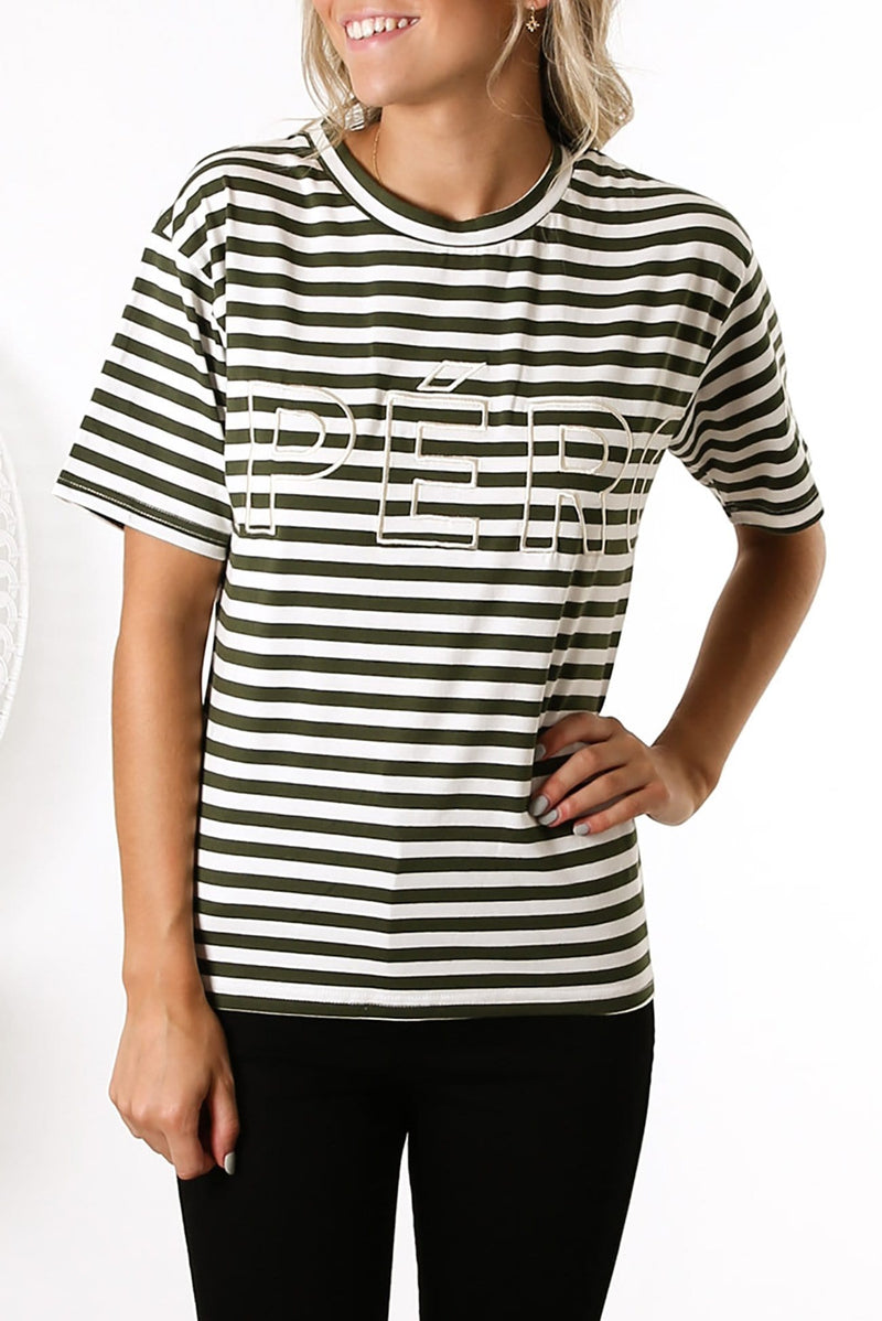 Mondo Stripe Embroidered Tee Olive White Stripe