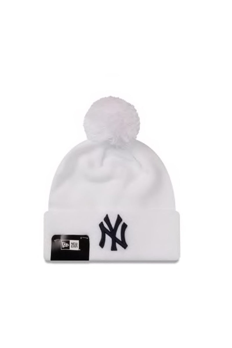New York Yankees Pom Knit Beanie White Navy New Era - Jean Jail