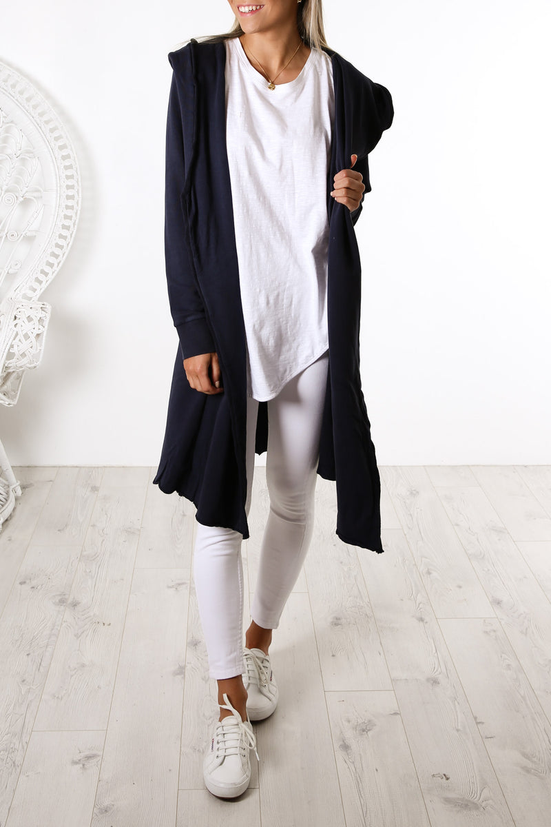 Naomi Hooded Cardigan Navy