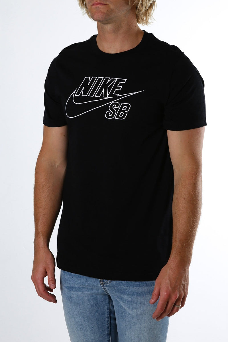 Nike SB Logo Embroidered Tee Black White