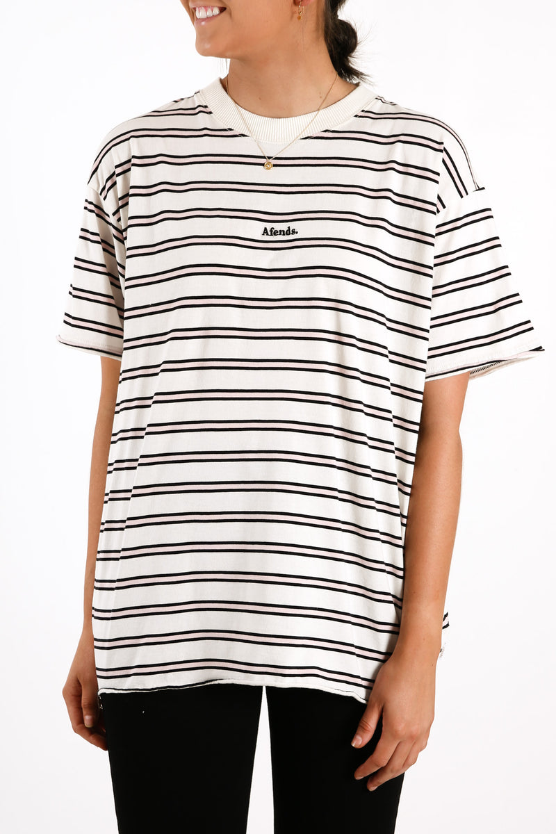 Niko Stripe Oversized Tee Off White