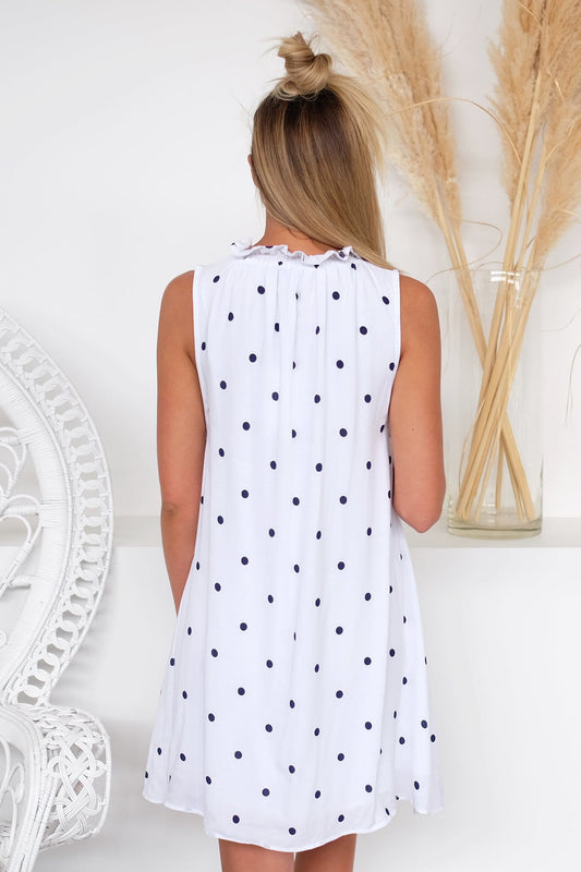 Nola Sleeveless Mini Dress Navy Spot