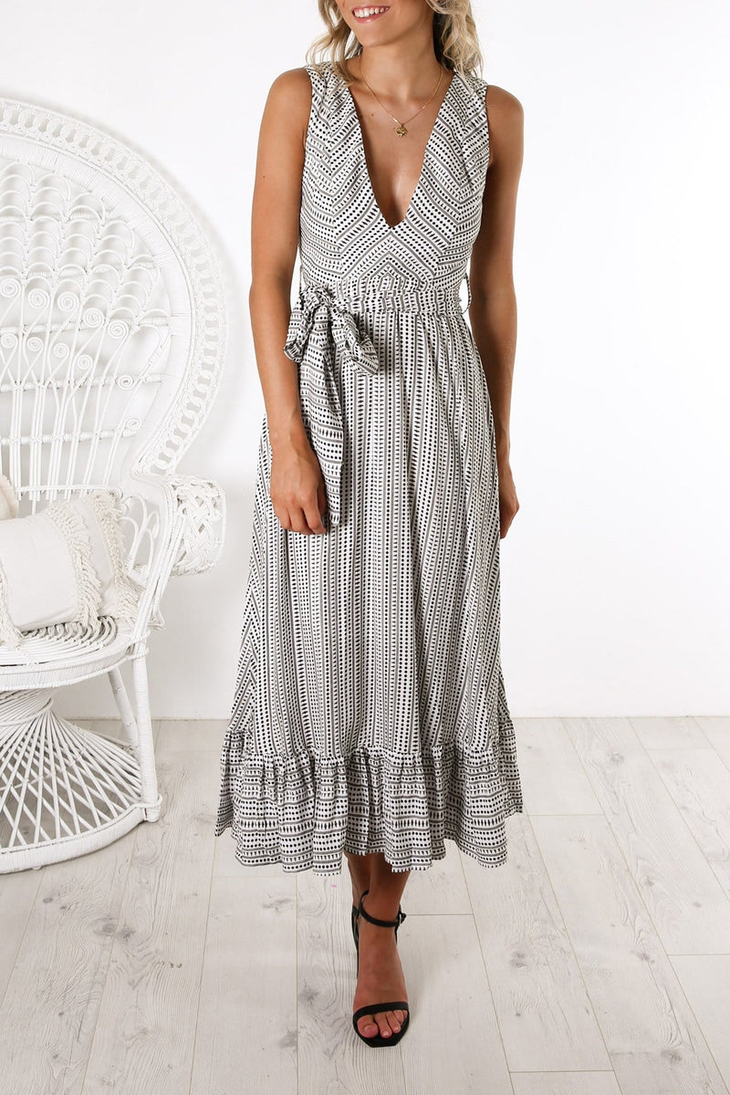 Norticia Maxi Dress White Black Print