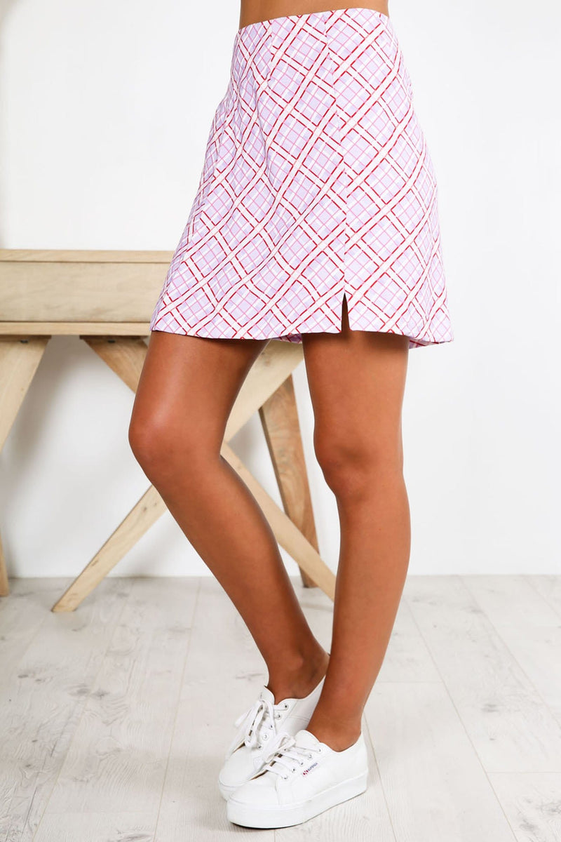 Nostalgia Skirt Lilac Check Finders Keepers - Jean Jail