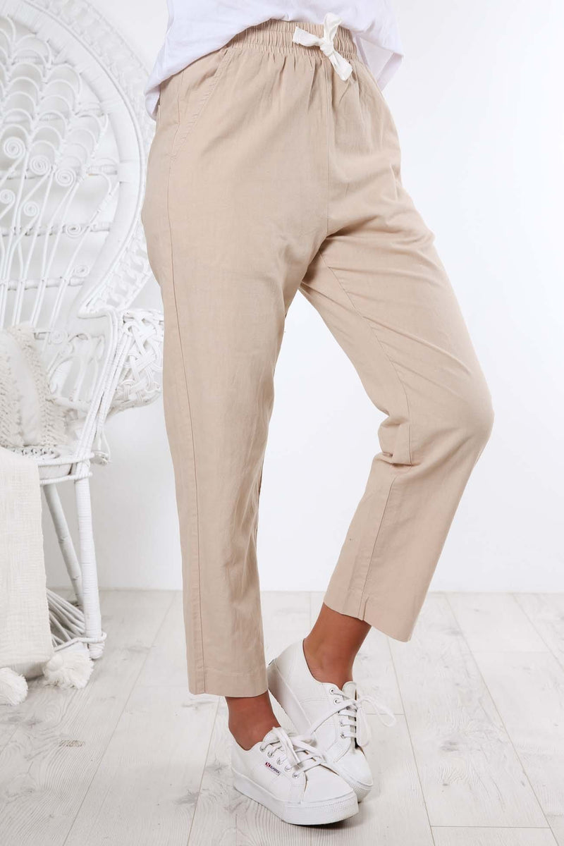 Nude Classic Linen Pant Sand Nude Lucy - Jean Jail